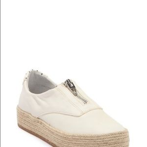 White Dolce Vita espadrille zip up shoe
